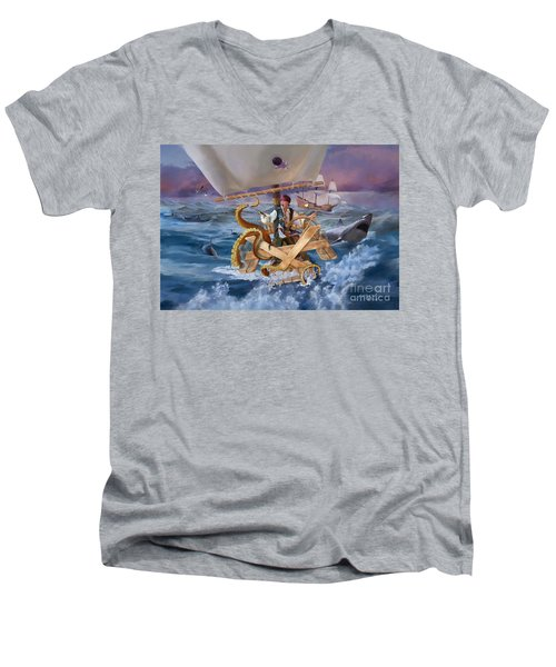Men's V-Neck T-Shirt featuring the painting Legendary Pirate by Rob Corsetti