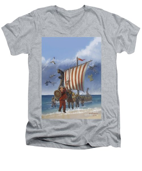 Men's V-Neck T-Shirt featuring the painting Legendary Viking by Rob Corsetti