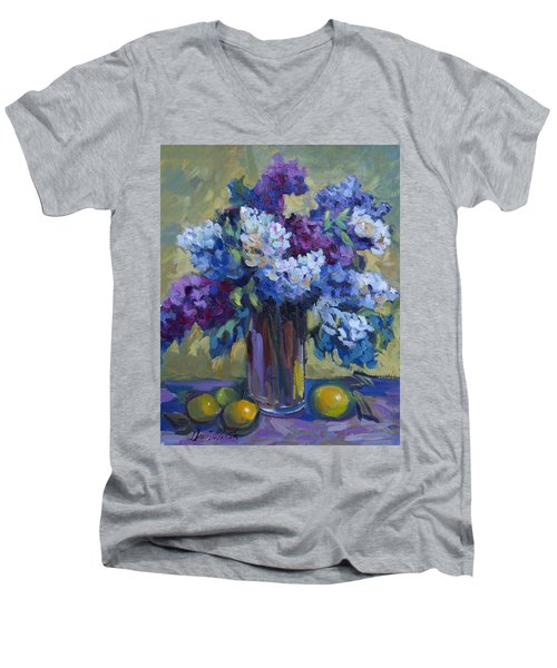 Lemons And Lilacs Men's V-Neck T-Shirt by Diane McClary