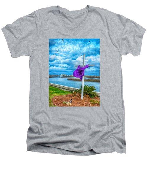 Lentin Cross Men's V-Neck T-Shirt by Bill Barber