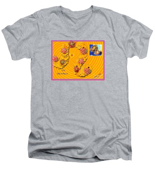 Men's V-Neck T-Shirt featuring the digital art Leo  by The Art of Alice Terrill
