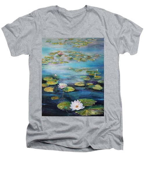Men's V-Neck T-Shirt featuring the painting Leo Mol's Garden by Ruth Kamenev