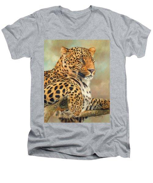 Leopard Men's V-Neck T-Shirt by David Stribbling