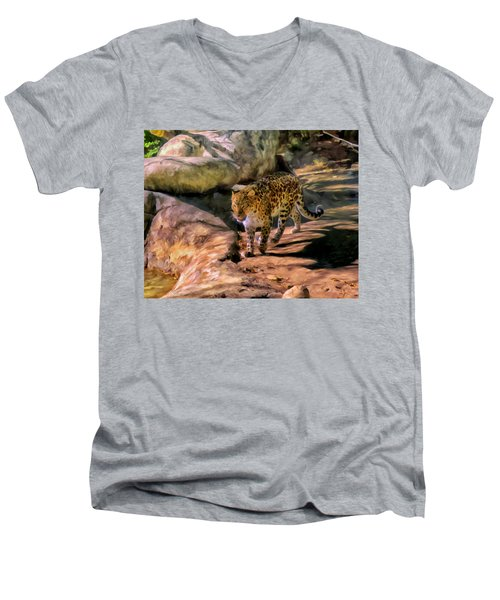 Leopard Men's V-Neck T-Shirt by Michael Pickett