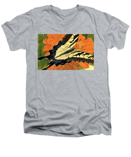 Men's V-Neck T-Shirt featuring the painting Lepidoptery by Joel Deutsch