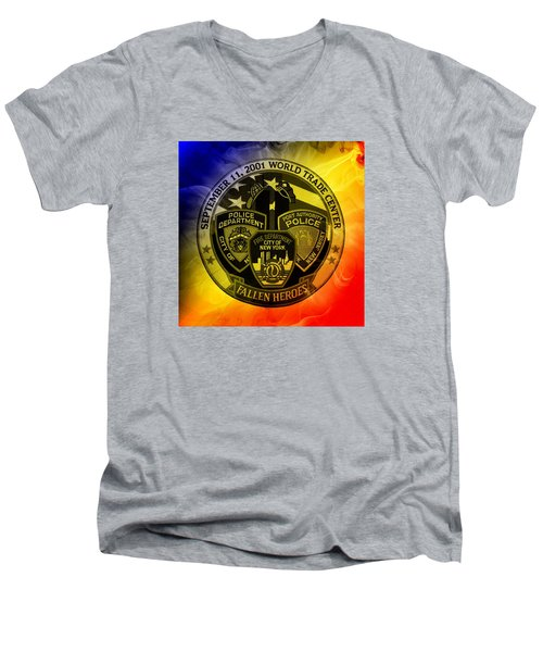 Men's V-Neck T-Shirt featuring the mixed media Least We Forget 2 by Nick Kloepping