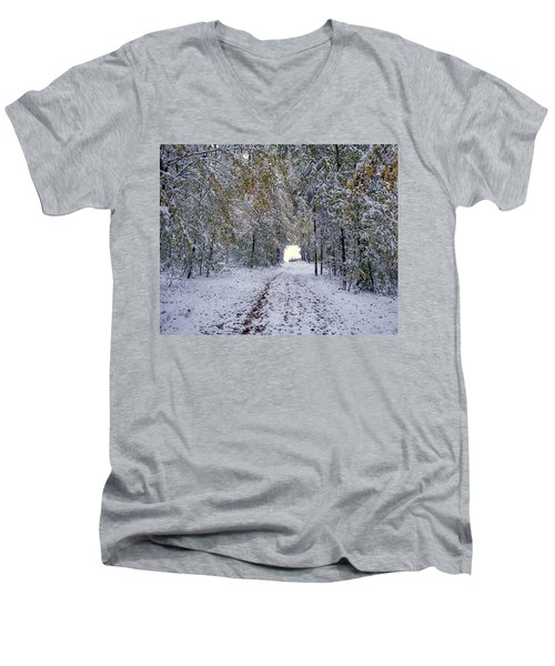 Men's V-Neck T-Shirt featuring the photograph Let It Snow by Felicia Tica