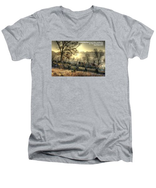 Let The Morning Bring Me Word Of Your Unfailing Love - Psalm 143.8 Men's V-Neck T-Shirt by Michael Mazaika