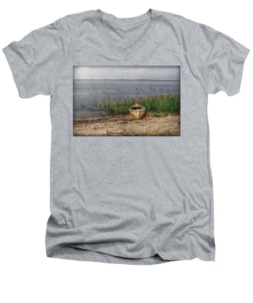 Men's V-Neck T-Shirt featuring the photograph L'etang by Hanny Heim