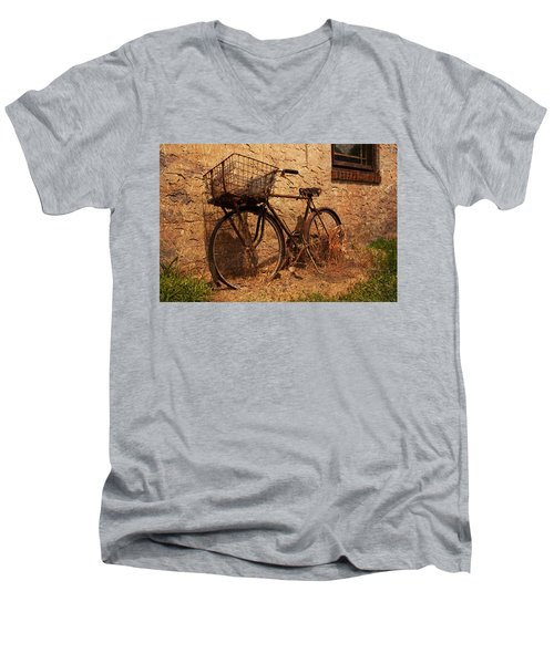 Let's Go Ride A Bike Men's V-Neck T-Shirt by Michael Porchik