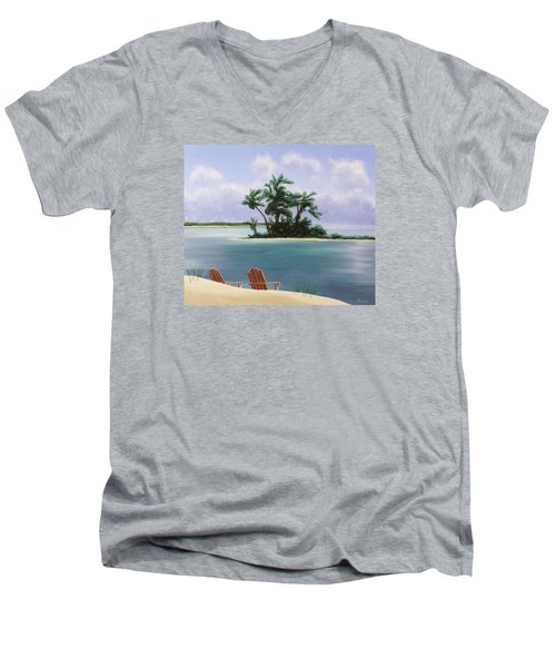 Let's Swim Out To The Island Men's V-Neck T-Shirt by Jack Malloch