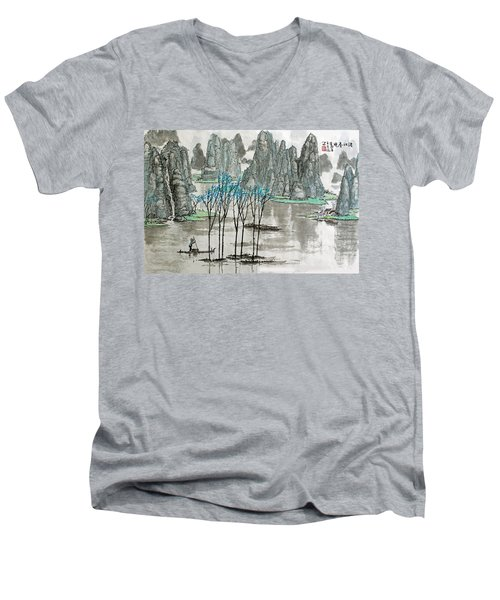 Men's V-Neck T-Shirt featuring the photograph Li River In Spring by Yufeng Wang