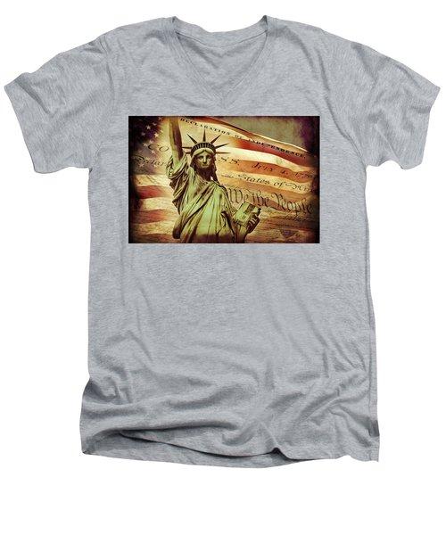 Declaration Of Independence Men's V-Neck T-Shirt by Az Jackson