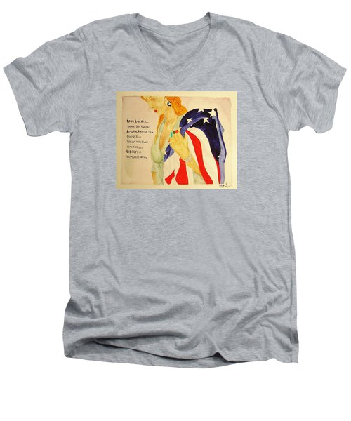 Men's V-Neck T-Shirt featuring the painting The Divorce Of Liberty by Rand Swift
