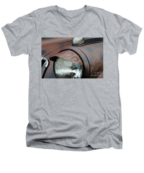 Men's V-Neck T-Shirt featuring the photograph License Tag Eyebrow Headlight Cover  by Wilma  Birdwell