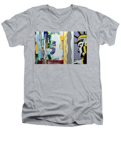 Lichtenstein's Painting With Statue Of Liberty Men's V-Neck T-Shirt by Cora Wandel