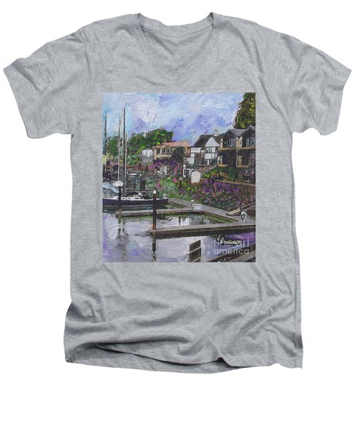Men's V-Neck T-Shirt featuring the painting Alameda Life On The Estuary by Linda Weinstock