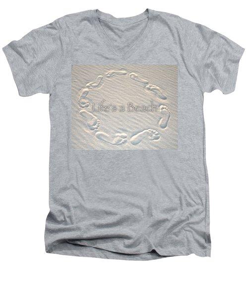 Lifes A Beach With Text Men's V-Neck T-Shirt