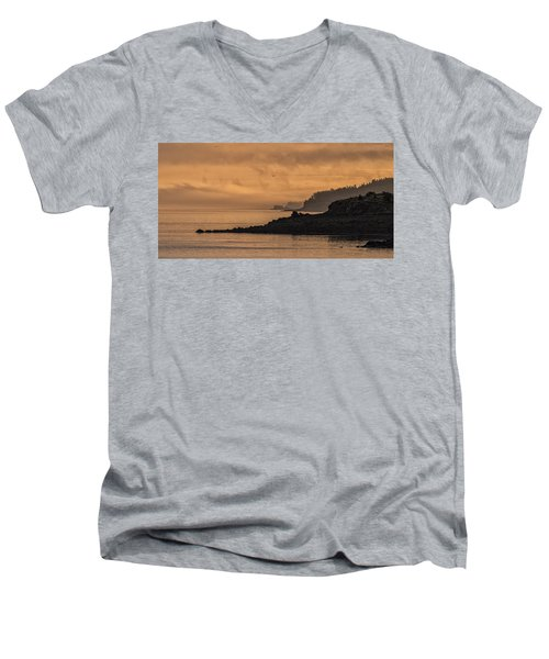 Men's V-Neck T-Shirt featuring the photograph Lifting Fog At Sunrise On Campobello Coastline by Marty Saccone