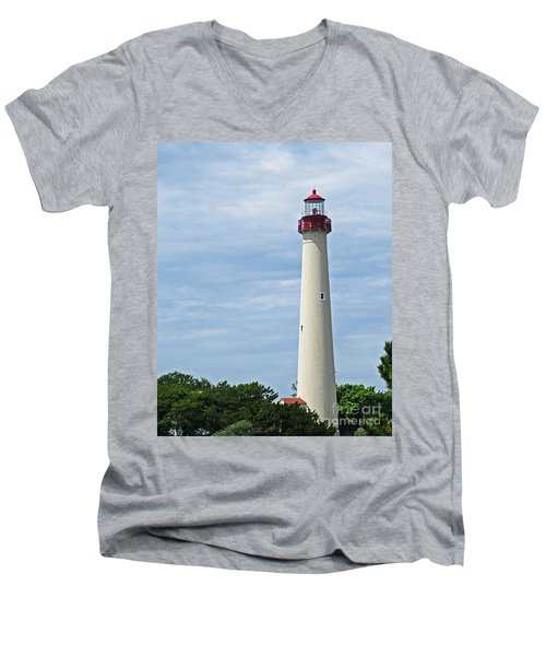 Light House At Cape May Nj Men's V-Neck T-Shirt