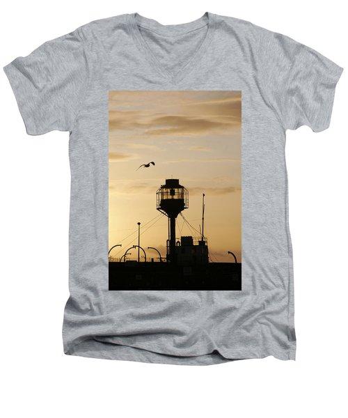 Light Ship Silhouette At Sunset Men's V-Neck T-Shirt