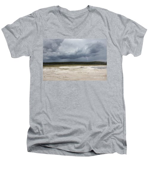 Men's V-Neck T-Shirt featuring the photograph Lightening At Yellowstone by Belinda Greb