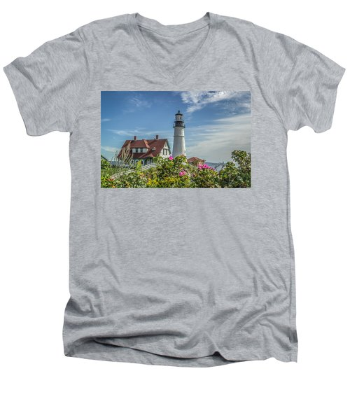 Lighthouse And Wild Roses Men's V-Neck T-Shirt