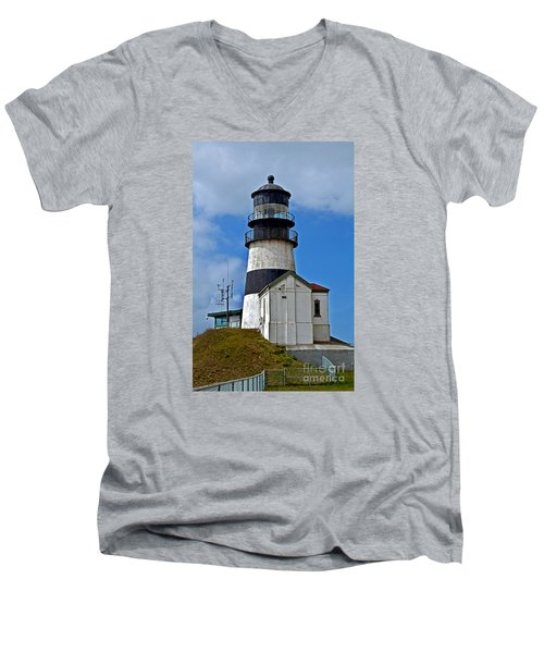 Lighthouse At Cape Disappointment Washington Men's V-Neck T-Shirt