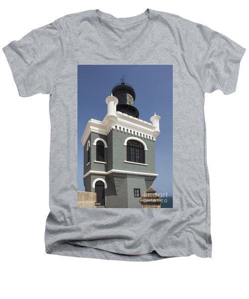 Lighthouse At El Morro Fortress Men's V-Neck T-Shirt
