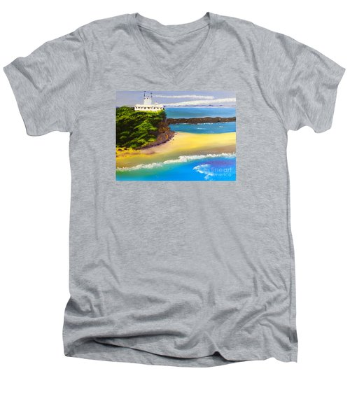 Men's V-Neck T-Shirt featuring the painting Lighthouse At Nobbys Beach Newcastle Australia by Pamela  Meredith
