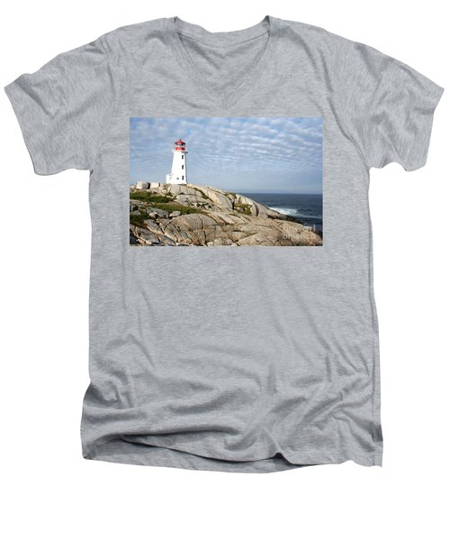 Lighthouse At Peggys Point Nova Scotia Men's V-Neck T-Shirt