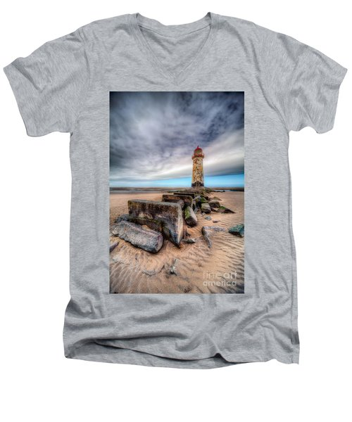 Lighthouse At Talacre  Men's V-Neck T-Shirt by Adrian Evans