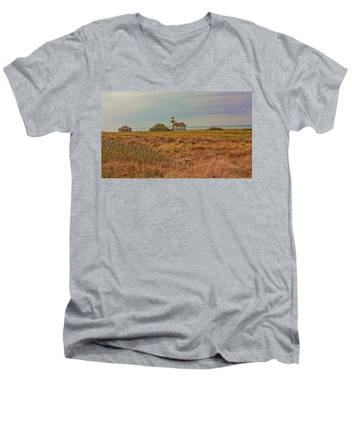 Lighthouse Men's V-Neck T-Shirt by Brian Williamson