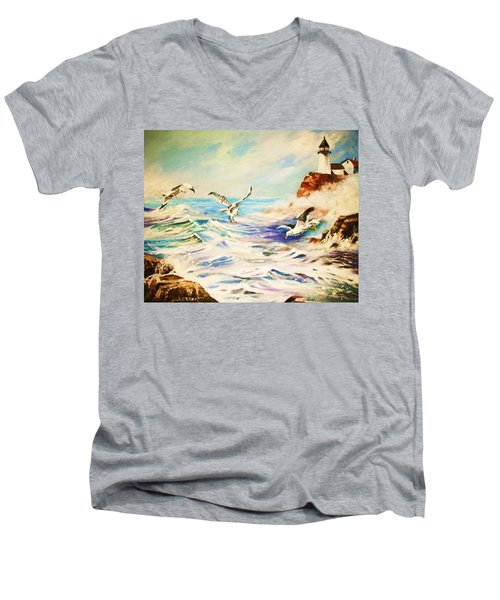 Men's V-Neck T-Shirt featuring the painting Lighthouse Gulls And Waves by Al Brown