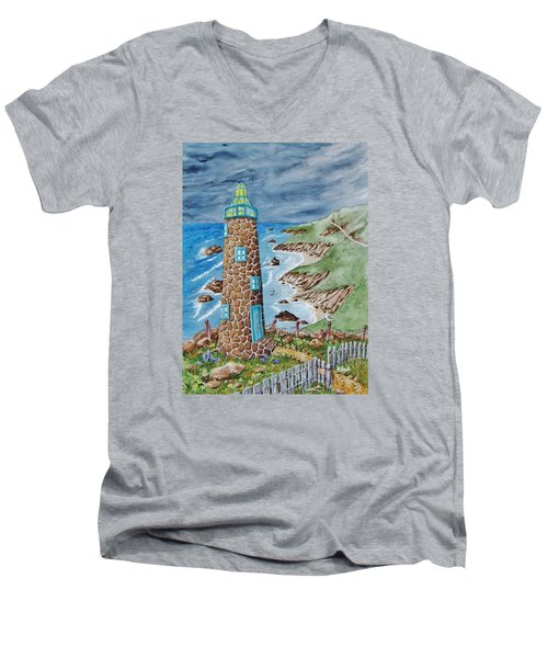 Lighthouse Men's V-Neck T-Shirt by Katherine Young-Beck