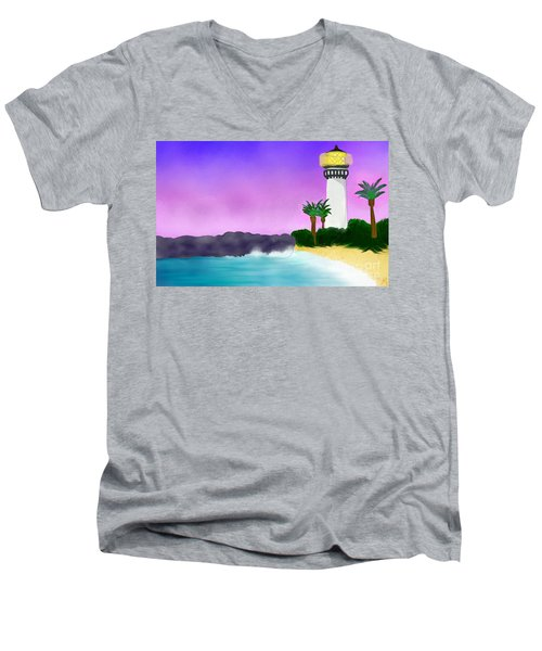 Lighthouse On Beach Men's V-Neck T-Shirt