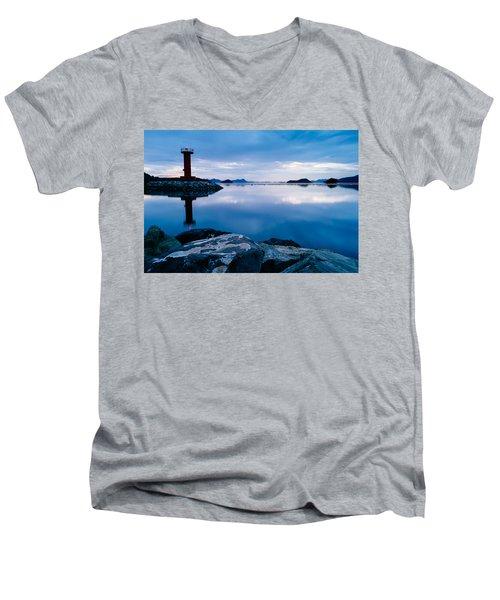 Lighthouse On Blue Men's V-Neck T-Shirt