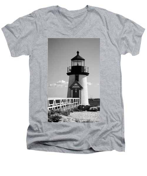 Lighthouse On Nantucket Bw Men's V-Neck T-Shirt