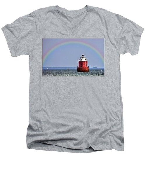 Lighthouse On The Bay Men's V-Neck T-Shirt by Brian Wallace