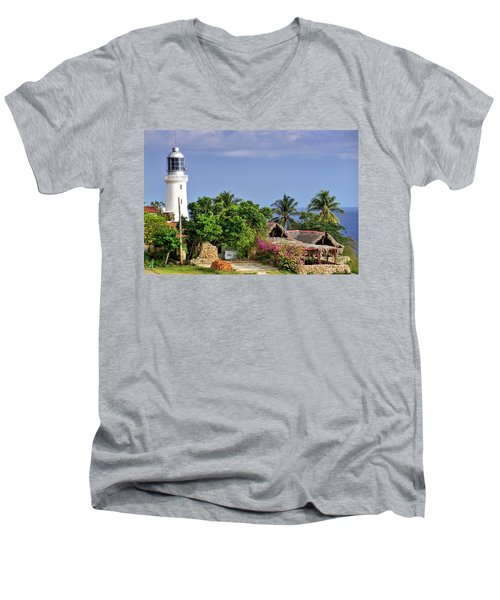 Lighthouse Santiago De Cuba Men's V-Neck T-Shirt by Lynn Bolt