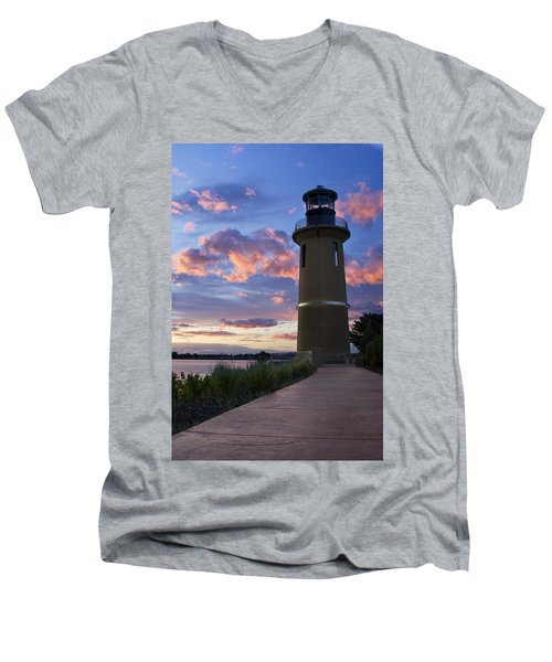 Men's V-Neck T-Shirt featuring the photograph Lighthouse by Sonya Lang
