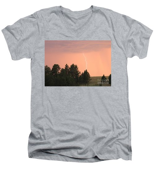 Men's V-Neck T-Shirt featuring the photograph Lighting Strikes In Custer State Park by Bill Gabbert
