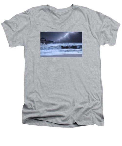 Lightning Strike Men's V-Neck T-Shirt by Laura Fasulo