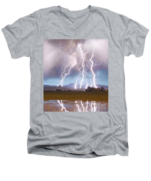 Lightning Striking Longs Peak Foothills 4c Men's V-Neck T-Shirt