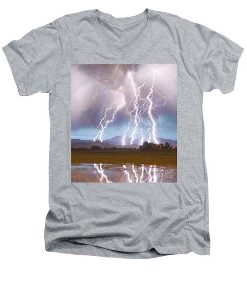 Lightning Striking Longs Peak Foothills 4c Men's V-Neck T-Shirt