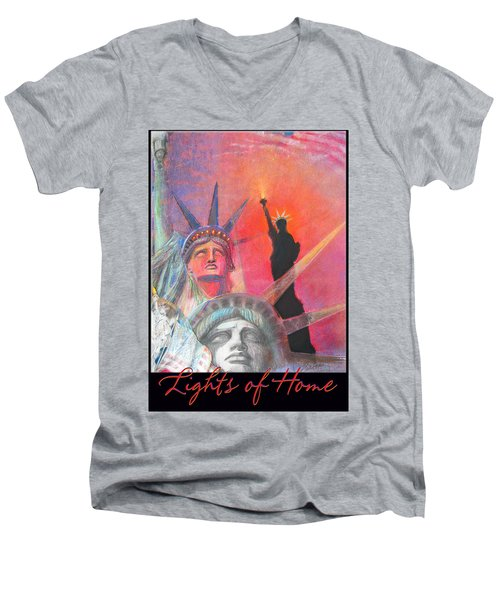 Lights Of Home - Pastel-mixed Media - Artwork Men's V-Neck T-Shirt