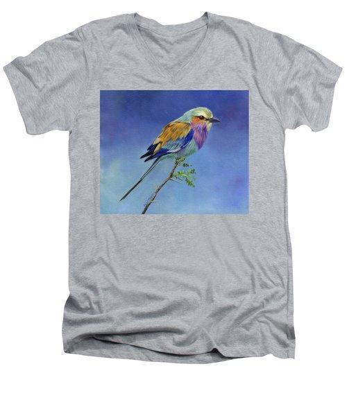 Lilacbreasted Roller Men's V-Neck T-Shirt by David Stribbling