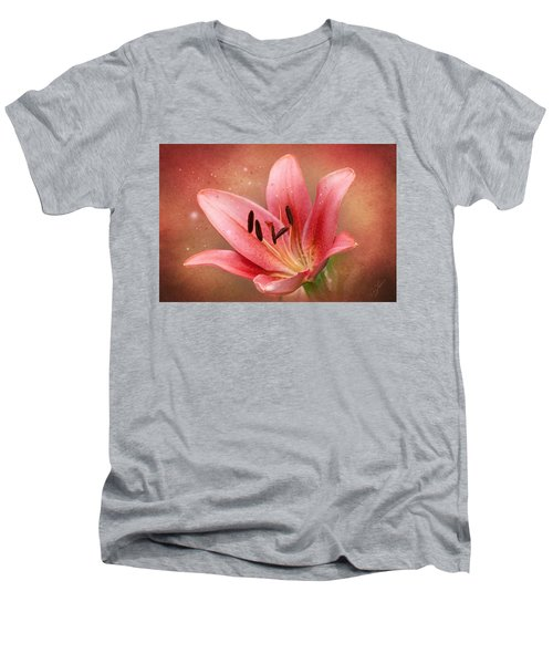 Men's V-Neck T-Shirt featuring the photograph Lily by Ann Lauwers