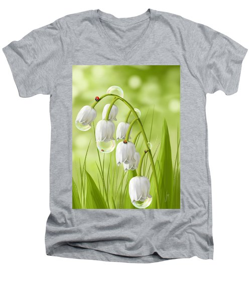Lily Of The Valley Men's V-Neck T-Shirt by Veronica Minozzi