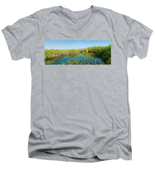 Lily Pads In The Lake, Anhinga Trail Men's V-Neck T-Shirt